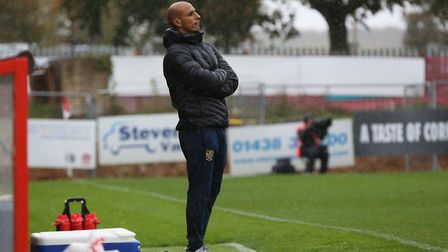 Manager of Stevenage FC Dino Maamria on the touchline in the League Two game between Stevenage FC v