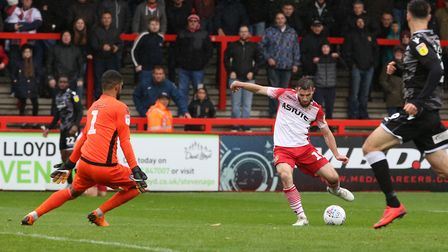 Danny Newton of Stevenage shoots wide in the League Two game between Stevenage FC v Colchester Unite