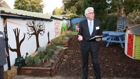 Stevenage author and patron of Home-Start Ken Follett speaks at the opening of the renovated Home-St