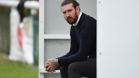 Biggleswade Town boss Lee Allinson. Picture by Martyn Haworth. 07463250714 27/08/2018