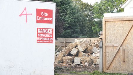The demolition site of the 350-year-old cottage in Fishers Green, Stevenage. Picture: NICK JOHNS