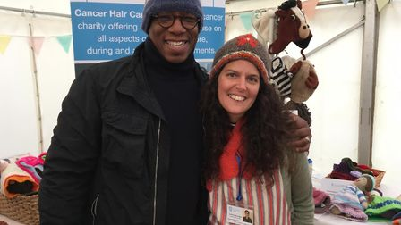 Former professional footballer Ian Wright with Cancer Hair Care founder Jasmin Julia Gupta. Picture