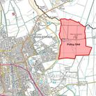 A new 1,500-home village (highlighted) is set to be built East of Biggleswade. Picture: Central Bedf