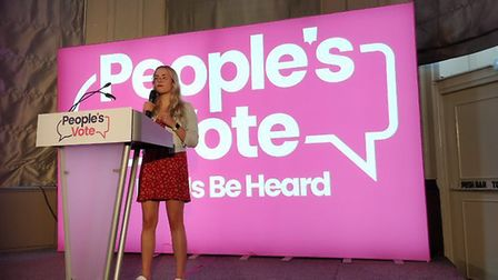 Abby Tomlinson at a People's Vote rally in Newcastle. Photograph: People's Vote.