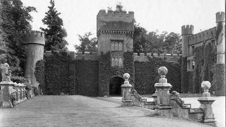 The Watchman''s Tower from the front courtyard of Knebworth House, 1920s.