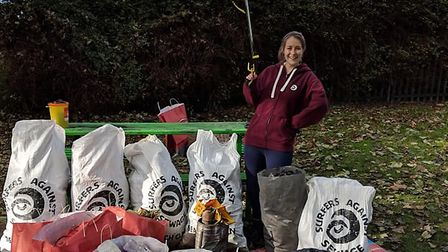 Volunteers collected 123kg of rubbish around Biggleswade's river Ivel on Sunday. Picture: Tanya Hill