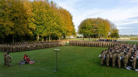 Bedfordshire & Hertfordshire Army Cadet Force pictured during the service at Theipval memorial durin
