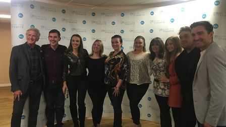 The cast of Season's Greetings at the Gordon Craig Theatre in Stevenage after opening night with dir