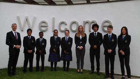 Barclay headteacher Mark Allchorn with students at the Stevenage school. Picture: Lee Gillion