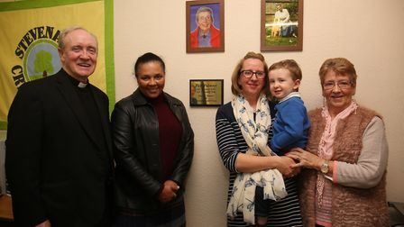 St Hilda's Church father Michael Doherty, Councillor Michelle Gardner, Pat's granddaughter Emma Poul