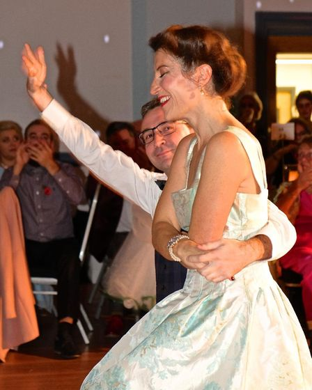 Hitchin author Zoe Folbigg and Jason Wood performed a quickstep . Picture: Geoff Ide