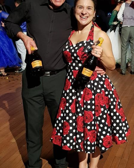 Hitchin Ladies rugby player Amanda Day and Mick Carpenter performed a jive at the Hitchin Come Danci