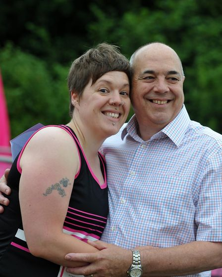 Vicky Lovelace-Collins with her dad Michael at Stevenage Race for Life 2015