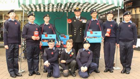 Biggleswade Sea Cadets help out the town's Royal British Legion branch with the Poppy Appeal. Pictur