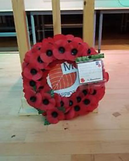 Marriotts School's remembrance wreath. Picture courtesy of Jacquie Peary.