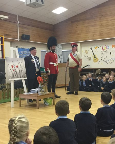 War veterans attended a special assembly at Woolenwick Infant and Nursery School. Picture courtesy o