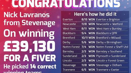 Nick Lavranos has won nearly £40,000 on a £5 bet. Picture: Betfred