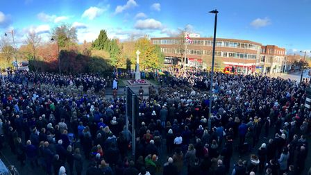 Hundreds turned out for Letchworth's Remembrance Service at the town's war memorial. Picture: Mike B