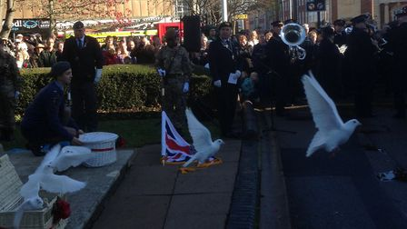 White doves were released following Letchworth's Remembrance Service to represent those who had fall