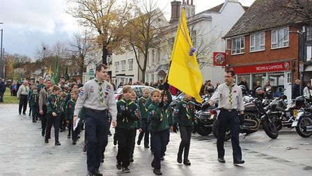 Scouts, Cadets, Brownies and more gathered at the Baldock War Memorial on Sunday. Picture: Jenny Tho