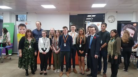 A group shot including Jacqui Piner, scientific director at GSK, and Stevenage MP Stephen McPartland