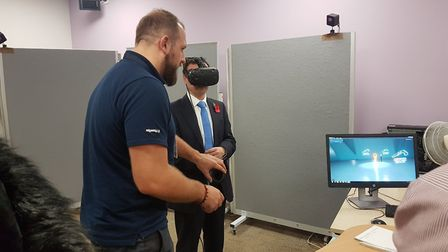 Stevenage MP Stephen McPartland trying out Airbus VR equipment at Generation Stevenage. Picture: MB