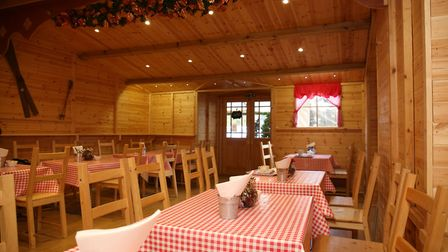 The nordic chalet tearoom at The Magic of Christmas, where you can grab a Christmas cuppa and bite t