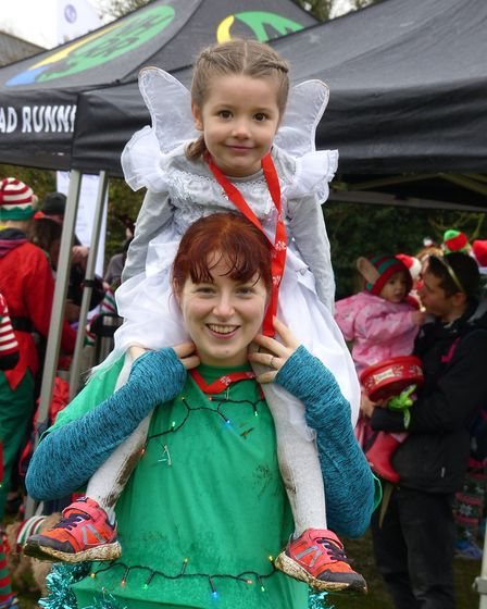 Letchworth Santa Canta 5k: Cara Sutton won one of the 'best outfit' prizes alongside her four-year-o