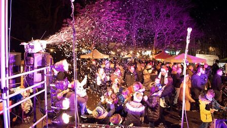 Artificial snow helped create a festive atmosphere. Picture: Darren Gilbert.