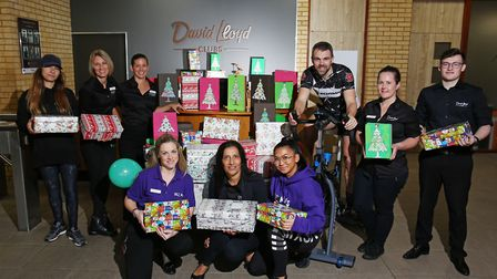 David Lloyd have been collecting shoeboxes for the Samaritan's Purse appeal and held a spin-a-thon t