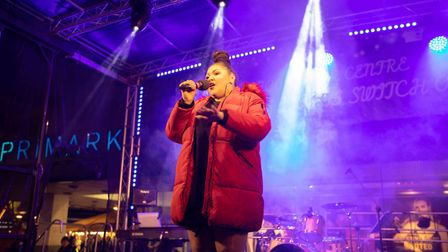 The Voice star Tai Bantick performed at the Stevenage Christmas Lights switch-on. Picture: Remi Bens