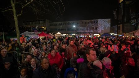 Hundreds turned out to the Stevenage town centre to see in the festive season. Picture: Remi Benson