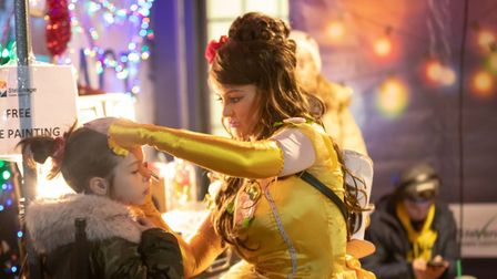The big switch-on had entertainment for all, including face painting. Picture: Remi Benson