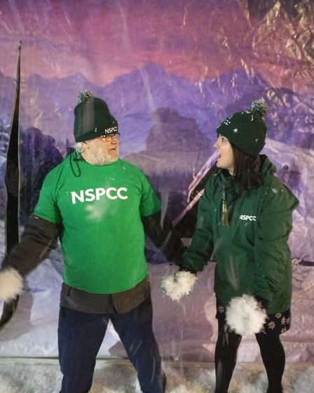 Volunteers for the NSPCC were at the Stevenage town centre Christmas lights switch-on on Thursday to