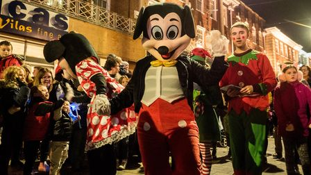 Mickey and Minnie in the fancy dress parade. Picture Gary Walker