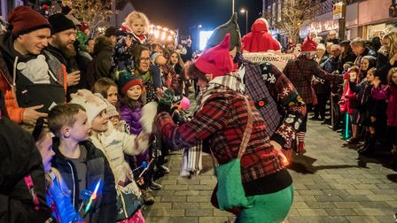 High fives with the elves. Picture Gary Walker