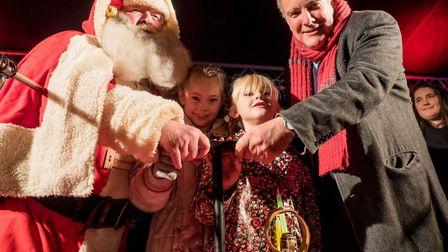 Father Christmas and VIPs switch on the lights. Picture: Gary Walker