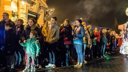 Crowds wait for the parade. Picture: Gary Walker