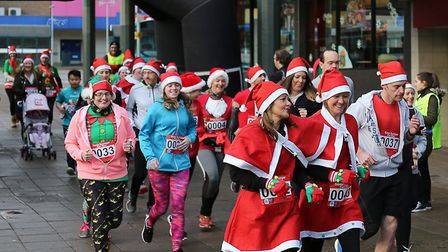 Festive fun in the town centre on Sunday in aid of Garden House Hospice Care. Picture: Terry Linton,