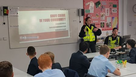 Police officers spoke to Year 10 pupils at Stevenage's The Nobel School about the dangers of carryin
