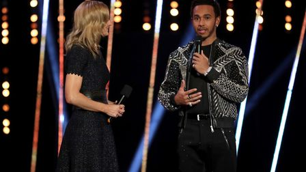 Lewis Hamilton is interviewed on stage during the BBC Sports Personality of the Year 2018 at Birming