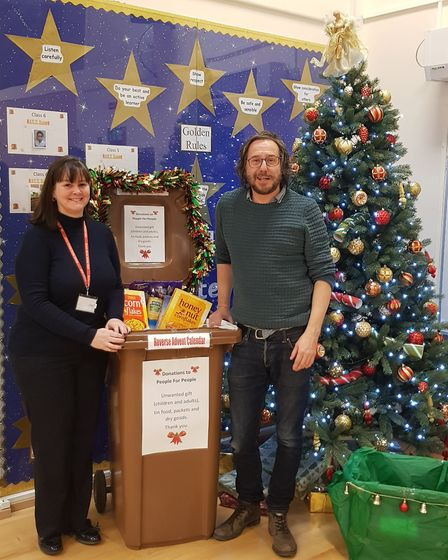 People for People founder Kenny Arnold with Broom Barns School's headteacher Jane Currant for last y