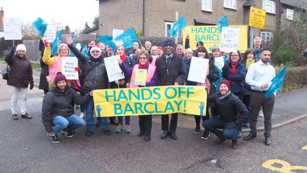 Barclay School teachers took strike action this morning, and were joined by parents, sixth-formers,