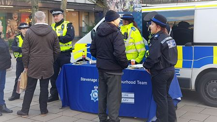 Officers were in Stevenage town centre yesterday talking to shoppers about crime prevention and Neig