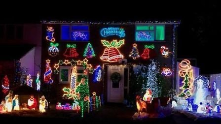 The Christmas lights display at Freda Marsh's home in Leaves Spring, Stevenage, last year. Picture: