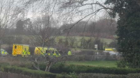The A602 is closed in both directions after a four vehicle crash this afternoon. Picture: Twitter @H