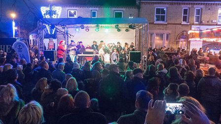 Crowds gathering for the lights switch-on. Picture: Steve Liddle