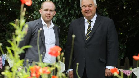 Herts at War's Dan Hill, pictured with North East Herts MP Sir Oliver Heald. Picture: Harry Hubbard