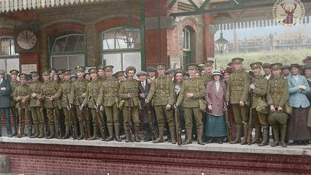 'E' company of the Hertfordshire Regiment 1st Battalion leaving Letchworth railway station to go to