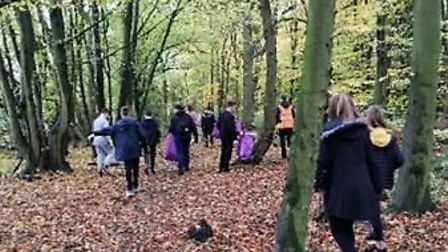 Students from Marriotts School and The Thomas Alleyne Academy picked litter in Stevenage's Fairlands